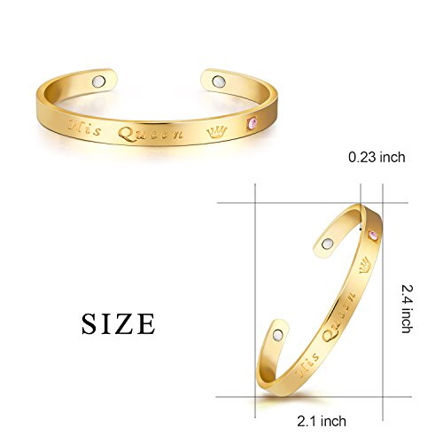d6e8a5a8bc3 C&Y JEWELRY 18K Gold Plated Couples Bracelets Her King His Queen Magnetic  Cuff Bangle Gift for Girlfriend Boyfriend Lover Wife