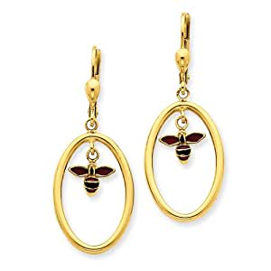 14k Enamel Lever Back Bee Earrings