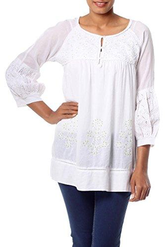 NOVICA White Handmade 100% Cotton Embroidered Tunic Top, Romantic ()