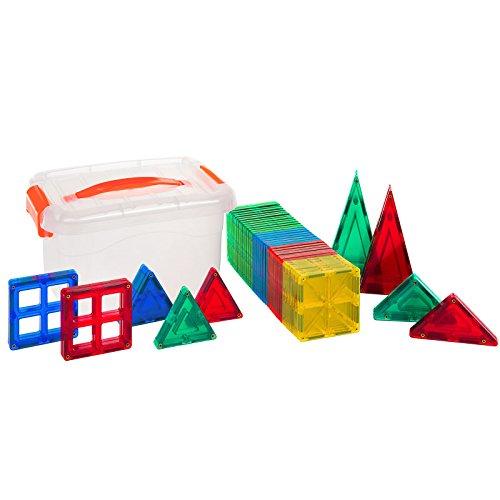 Alek...Shop Educational Construction Toys Magnetic Building Kids 60Piece Tiles Toy Set w/ Carrying Case Multicolor by Alek...Shop (Image #2)
