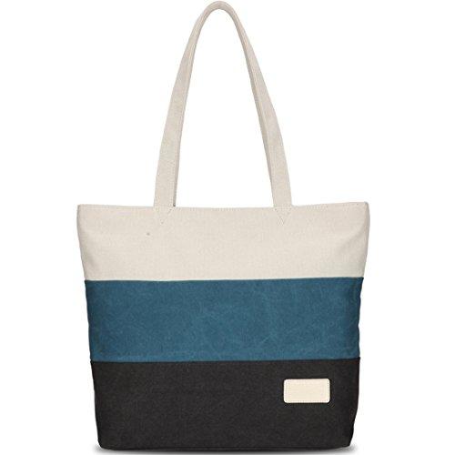black Shopping white Bag Handles Canvas Kaxidy Holiday White Beach Cotton Tote Bags Shoulder blue Day black blue Ladies Multicolour Girls Iggqwa1