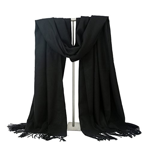 LERDU Womens Cashmere Scarf Wool Wrap Shawl Winter Collection Black