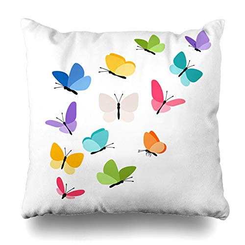 Ahawoso Throw Pillow Cover Square 20x20 Graceful Blue Abstract Butterflies Flight Tropical Ornate Butterfly Green Bug Design Tiny Home Decor Cushion Case Pillowcase