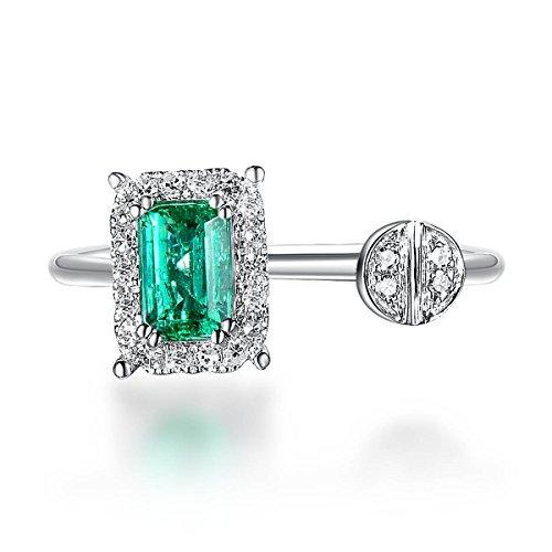 Hutang Naturel Pierre précieuse Émeraude et diamants Or blanc massif 18ct Clou de mariage Anneaux pour femme Diamond-jewelry (N 1/2)