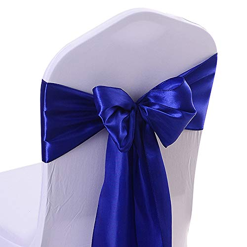 10PCS 17X275CM Satin Chair Bow Sash Wedding Reception Banquet Decoration #15 Royal Blue