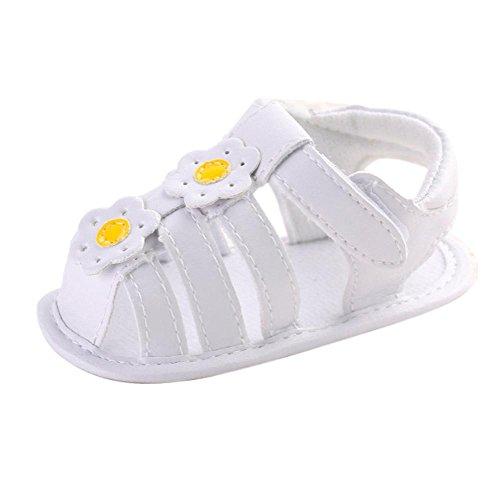 bescita Sommer Kleinkind Mädchen Krippe Schuhe Neugeborenen Blume Weiche Sohle Anti-Rutsch Baby Sneakers Sandalen (12, Gelb)