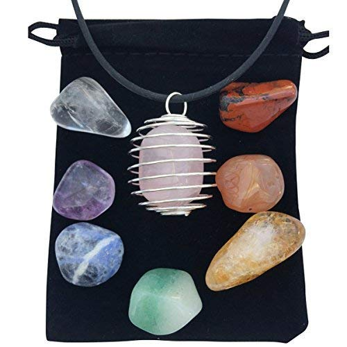 (Zangrala Healing Crystals and Stones - 7 Chakra Stone Set with Rose Quartz and Cage Necklace- Charged with Reiki Energy - Carry a Spiritual Stone with You and Raise Your Vibrational Frequency)