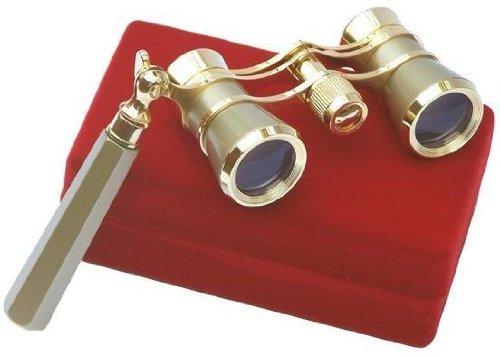LaScala Optics IOLANTA Lorgnette Opera Glasses - Green body, Golden