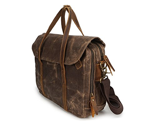 Men's Messenger Horse Canvas Shoulder Crazy Crossbody Wax Brass Bag Vintage Paper Oil With qqaRHr