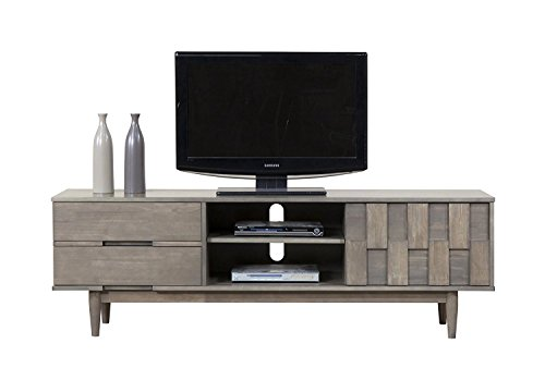 ModHaus Living Mid Century Danish Style Wood 70 inch Media Console TV Stand in Rich Gray Finish with 2 Drawers - Includes pen (Gray)