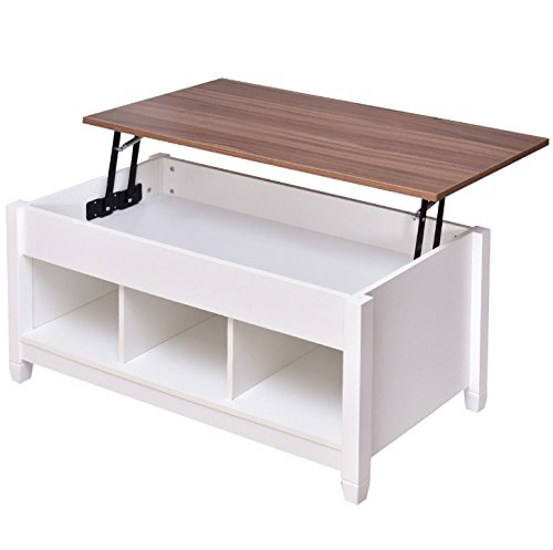 White Lift Top Coffee Table With Hidden Storage Compartment Shelves Home Living Room Bedroom Furniture Decoration Adjustable Height Large Storage Capacity For Placing TV Remotes Books Magazines
