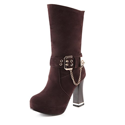Boots Low Toe top AgooLar Pull on Women's Frosted High Closed Round Brown Heels wqqzYP4x1