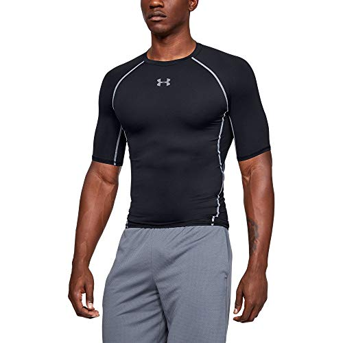 Under Armour mens HeatGear Armour Short Sleeve Compression T-Shirt, Black (001)/Steel, ()
