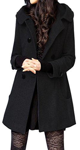 Long Black Wool Coat - 9