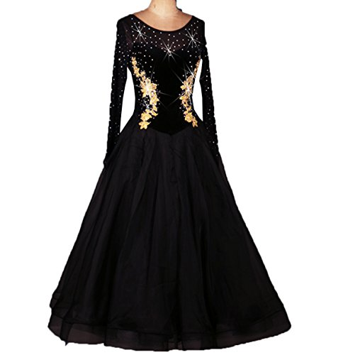 Black Dance Competition Costumes (Ballroom Dance Dresses Long Sleeve Practise Dance Rhinestone Competition Dresses Modern Waltz Tango Smooth Ballroom Dance Costumes For Women Flamenco Dresses Showcase Dance (Black,S))