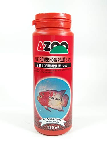 - AZOO 9 in 1 Flower Horn Pellet (s Size) for Flower Horn, Cichlasoma sp. and American Cichlid Fish Food 330ml