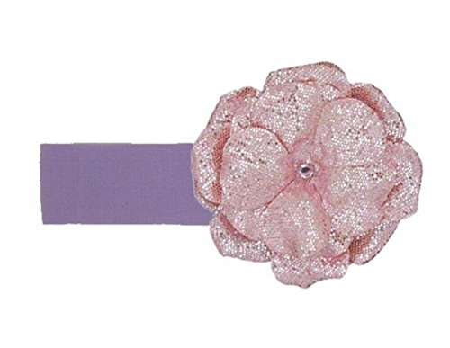 Jamie Rae Hats Lavender Soft Headband with Sequins Pale Pink Rose, Size: 0-12m