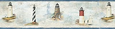 Chesapeake DLR53502B Chapin Blue Sunset Waters Wallpaper Border