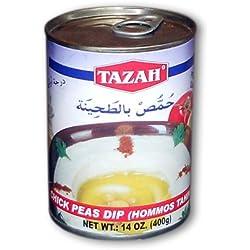 Tazah Hommos Tahina Chick Peas Dip (Hommos Tahina, 14Oz (400g)