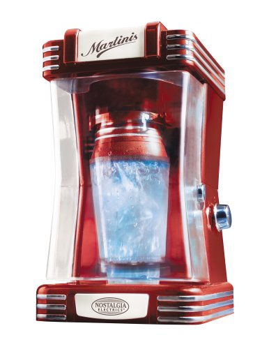 Nostalgia Electrics MSH-105R Retro Series Automatic 16-Ounce Martini Shaker, Red (Electric Martini Shaker)