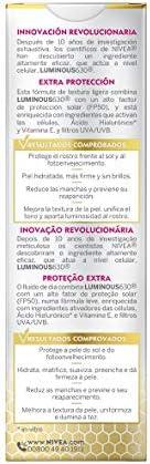 NIVEA Cellular LUMINOUS 630 Antimanchas Crema de Día FP50 Fluido Triple Protección (1 x 40 ml), crema iluminadora de cuidado facial, tratamiento antimanchas con FP50
