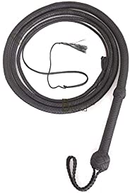 Bull Whip 6, 8, 10,12, 14 or 16 Foot 12 Strands Paracord Nylon Equestrian Bullwhip Leather Belly & Leather