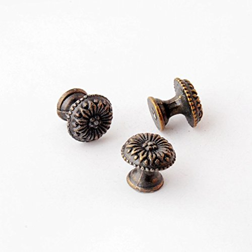 8PCs Jewelry Wooden Box Pull Handle Dresser Drawer for Cabinet Door Round Antique Bronze YingYing Supplies