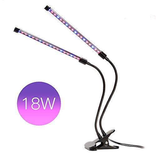 Led Grow Light Dual Tube Head 18W Plant Lamp 36 LEDs by Mounchain Double Adjustable 3 Modes丨2 Levels Red & Blue Switchs Dimmable and 360 Degrees Flexible Gooseneck for Indoor Plants Greenhouse Office ()
