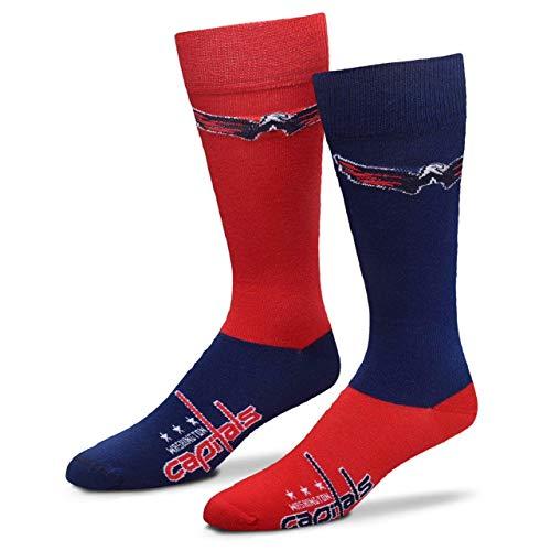 Washington Capitals Mens Socks - For Bare Feet Men's NHL 4-Square Mismatch Dress Socks (Washington Capitals, Large (10-13))