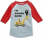 Tstars 4th Birthday Gift Construction Party 3/4 Sleeve Baseball Jersey Toddler Shirt