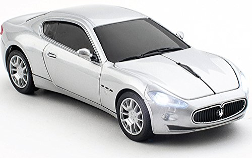 Click Car CCB-MASERATI-SILVER Maserati Wireless Optical Mouse and 4GB USB 2.0 Stick Bundle Kit, Silver (Kit 4 Silver Gb)