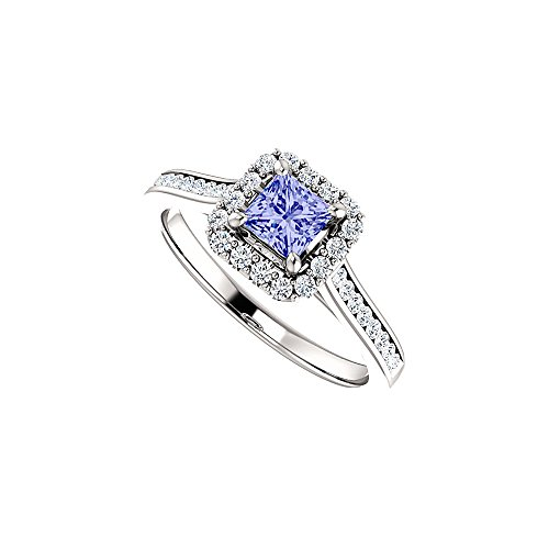(Channel Set CZ Accented Tanzanite Halo Ring White Gold)