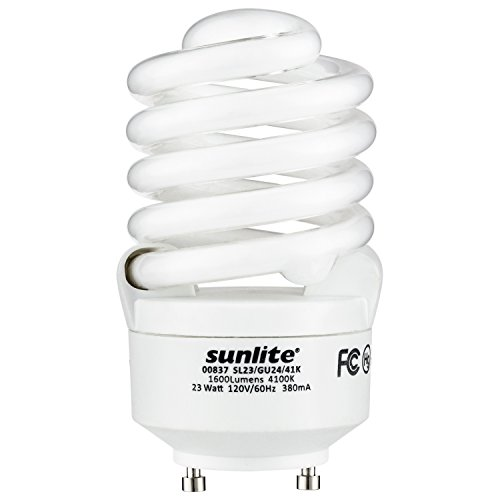 Sunlite SL23/GU24/41K Fluorescent 23W (100W Equivalent) CFL Spiral Light Bulbs, 4100K Cool White Light, GU24 - 23w Spiral