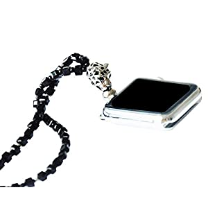Adjustable Length Square Black Crystal with Leopard Necklace Smartwatch Neck Chain 38mm of Series 3 2 1 / 40mm of Series…