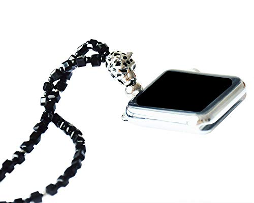 Adjustable Length Square Black Crystal with Leopard Necklace Smartwatch Neck Chain 42mm of Series 3 2 1 / 44mm of Series 4 Jewelry Handmade New Watch Replacement Accessories Adaptor Neck Strap Chain