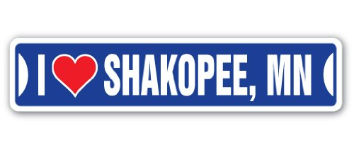 I Love Shakopee, Minnesota Street Sign mn City State us Wall Road décor Gift -