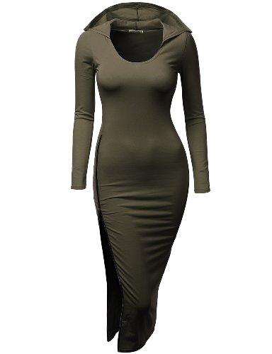 Doublju Women Casual Round Neck 3/4 Sleeve Big Size Dress KHAKI,3XL (80s Fancy Dress Plus Size)