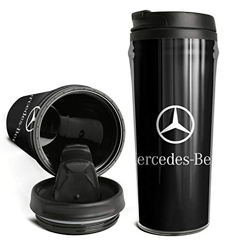 Cute Novelty Coffee Cup Mercedes-Benz-logo- Style Double Wall Insulated Thermal Travel Coffee Mug for Men Women 16.9 Oz