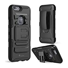 iPhone 6s Case ,i-Blason Prime [Kickstand] Also Fit Apple iPhone 6 Case (4.7) Dual Layer Holster Cover with [Locking Belt Swivel Clip] (Black)