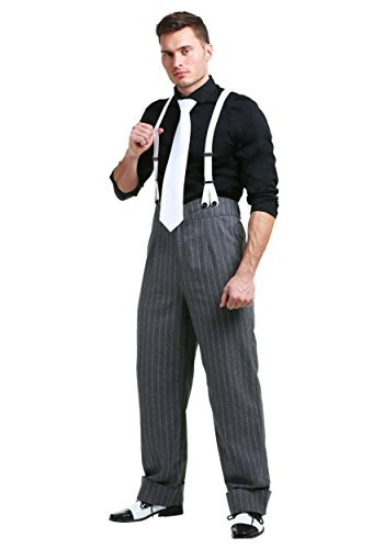 Men's Underboss Gangster Costume 1920s Gangster Costume Men (Medium) Black -