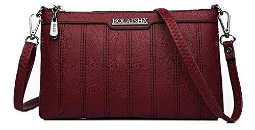 Claret TSDBH180892 Pu Shoulder AalarDom Women's Fashion Casual Clutch Darkblue Zippers Bag Bags OwaFZSnB