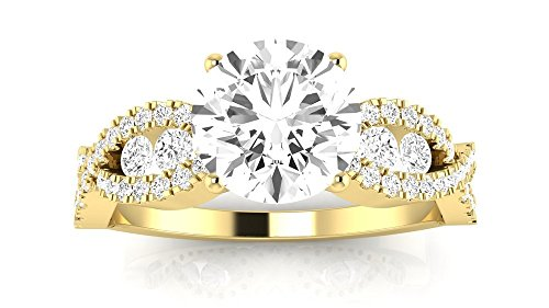 14K Yellow Gold 1.28 CTW Designer Twisting Eternity Channel Set Four Prong Diamond Engagement Ring w/ 0.68 Ct Round Cut H Color SI1 Clarity Center by Houston Diamond District