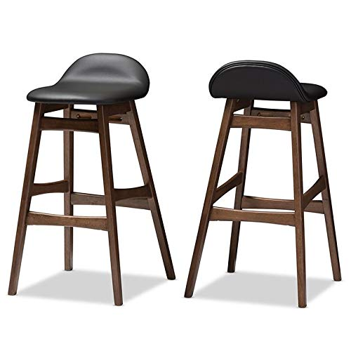 (Baxton Studio 2 Piece Bloom Scandinavian Style Faux Leather Upholstered Walnut Barstool Set, 30