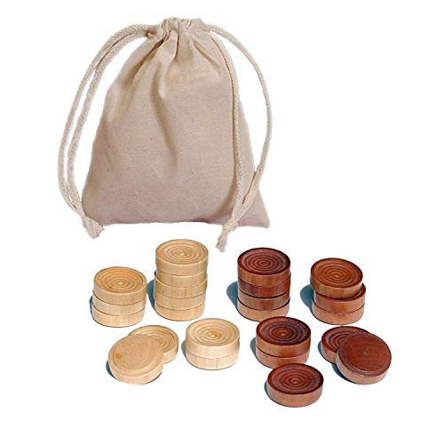 Wood Backgammon Chips with Cloth Pouch - Brown & Natural 1 in. Diameter