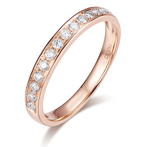 (Hafeez Center 14K Solid Gold Micro Pave Round Diamond Dainty Eternity Wedding Band Ring for Women and Girls (Rose-Gold, 7))
