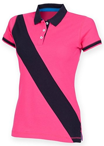 Front Row Women's Short Sleeve Diagonal Stripe Polo Shirt Bright Pink/Navy XL/16