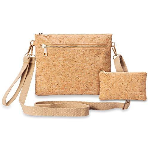 CrossBody Bag Clutch Shoulder Bag Purse Women Girls With Coin Purse 2PCS Cork