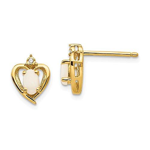 14k Yellow Gold 5x3 Oval Diamond & Opal Earrings. Gem Wt- 0.37ct (0.6IN x 0.3IN)