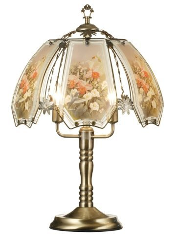 HPP Inc Glass Hummingbird Pastel Scene Touch Lamp, Brushed Gold