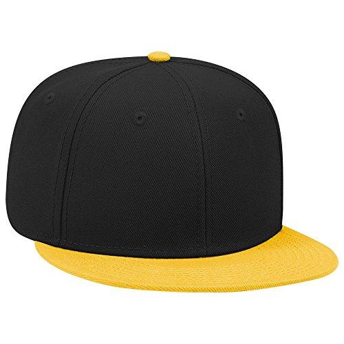 OTTO SNAP Wool Blend Twill Round Flat Visor 6 Panel Pro Style Snapback Hat - Gld/Blk/Blk